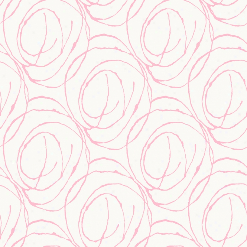 Doodle Circles White & Pink Wallpaper