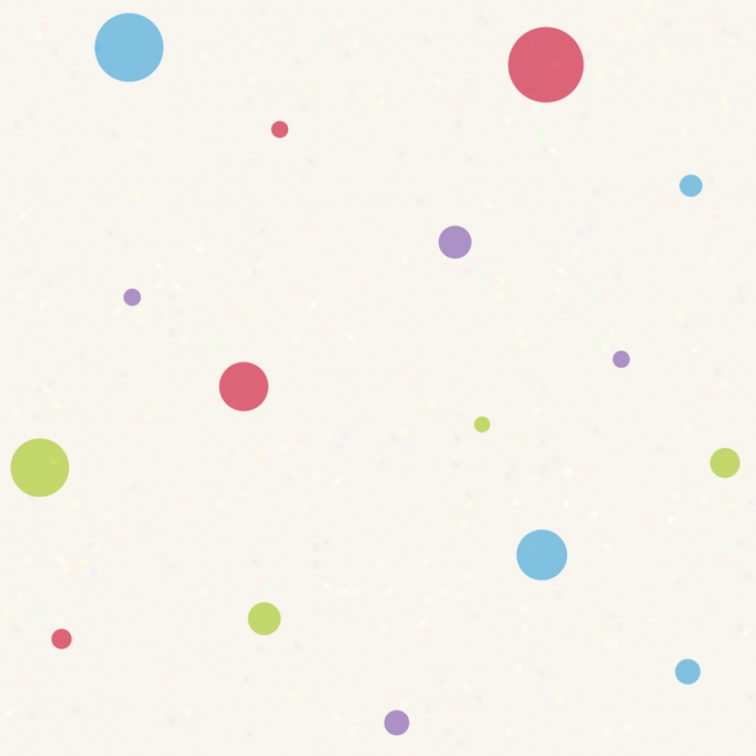 Dot Variety White & Pastels Wallpaper