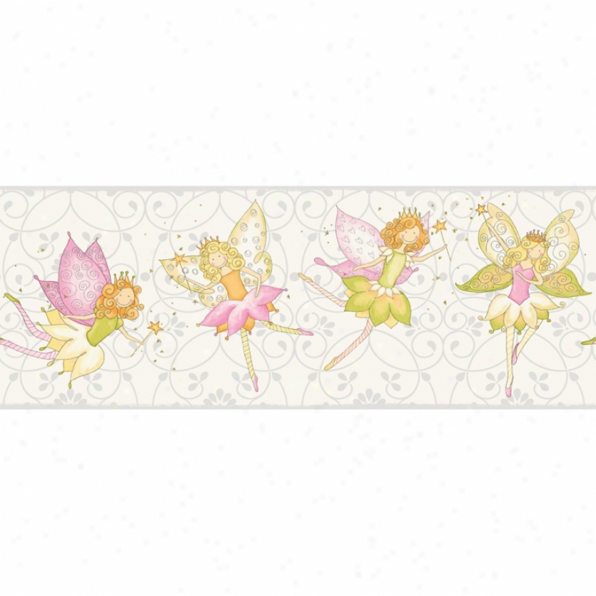 Fairy Garden White Wallpaper Border
