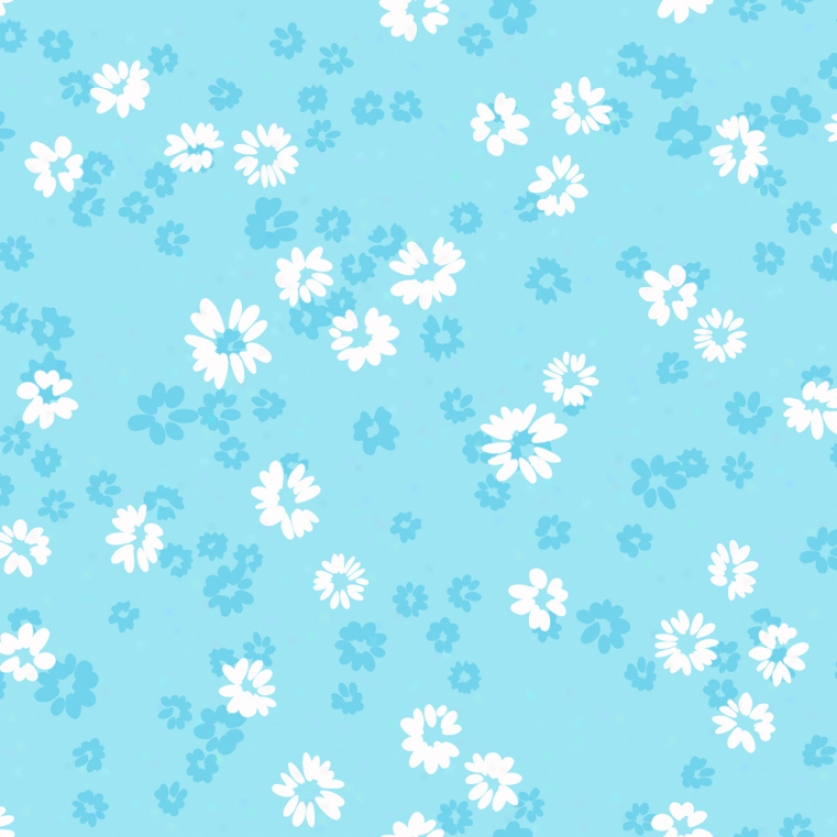 Floral Toss Blu3 & White Wallpaper