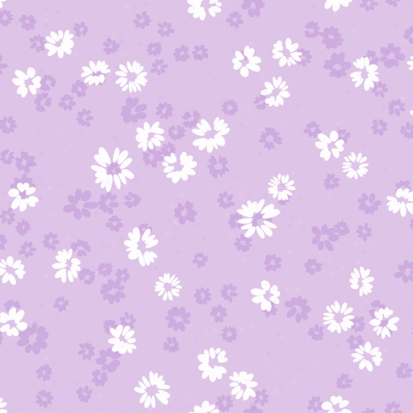 Floral Toss Lilac & White Wallpaper