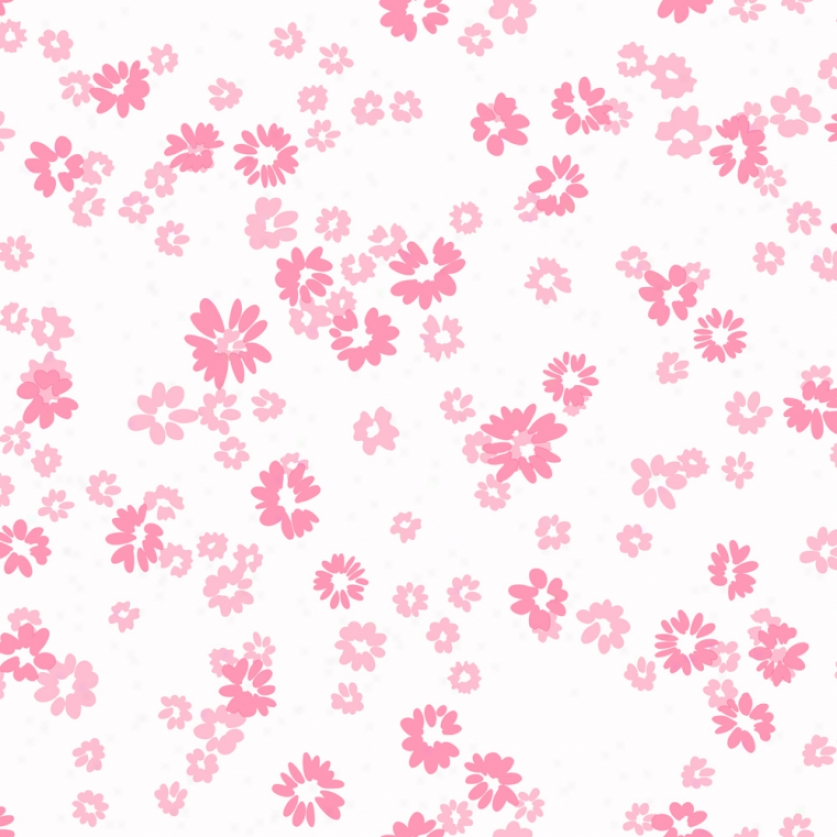 Floral Toss White & Pink Wallpaper