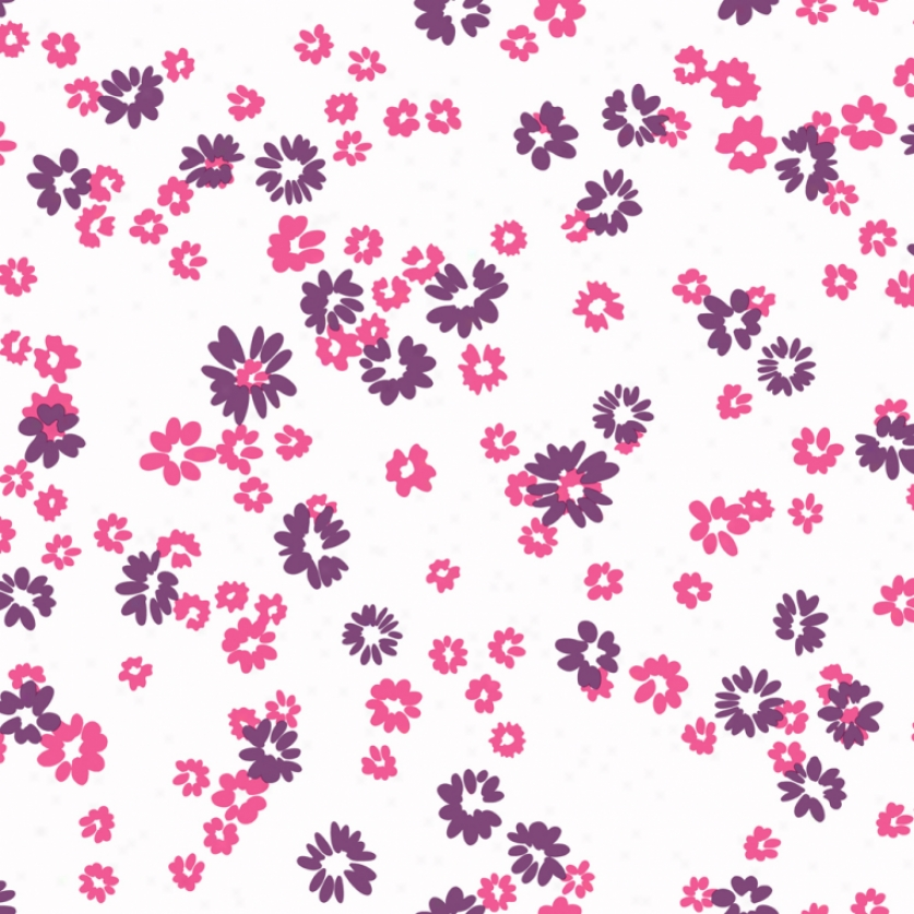 Floral Toss White, Purple, & Pink Wallpaper