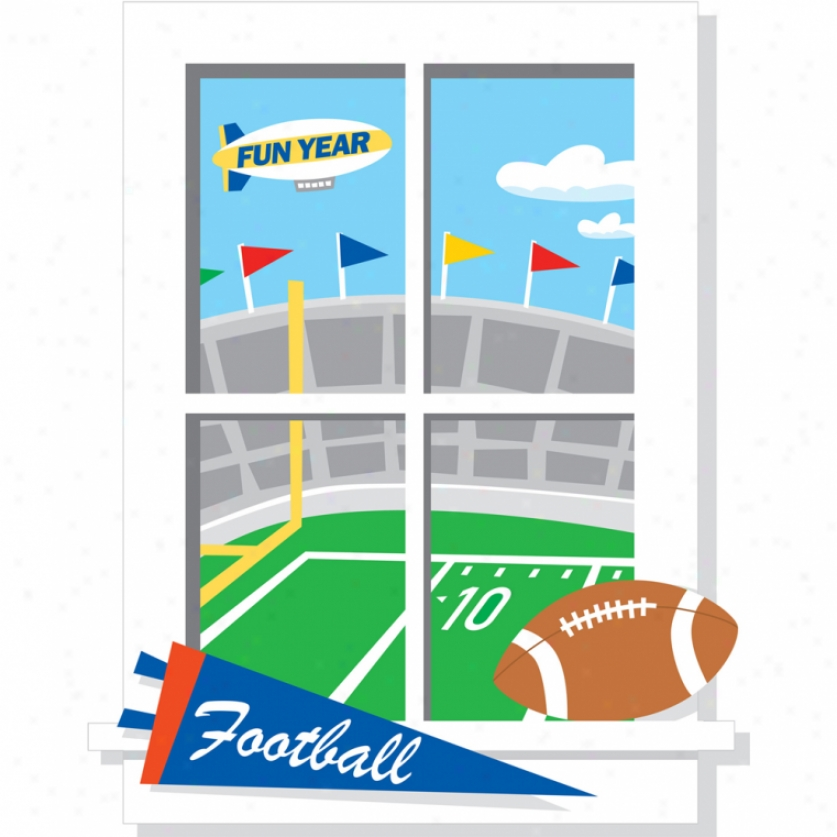Game Day Football Window Monster Wall Decal