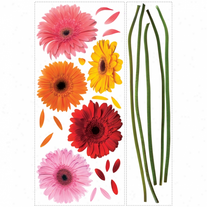 Gerber Daisies Giant Wall Decaps