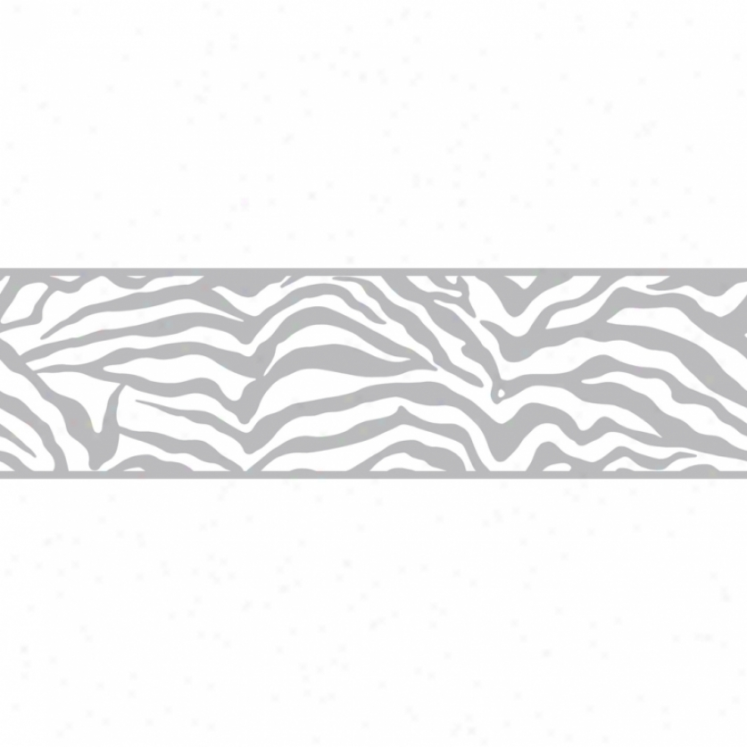 Glam Zebra Silver Wallpaper Border