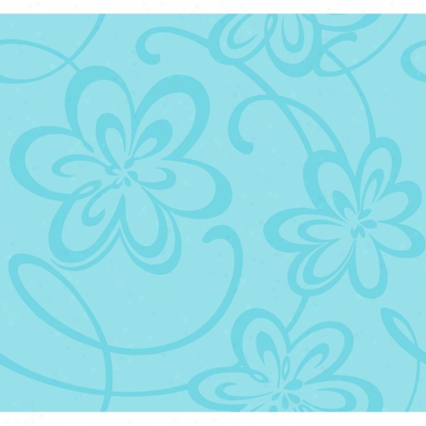 Glitter Floral Aqua Wallpaper