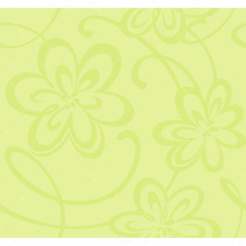 Glitter Floral Lime Wallpaper