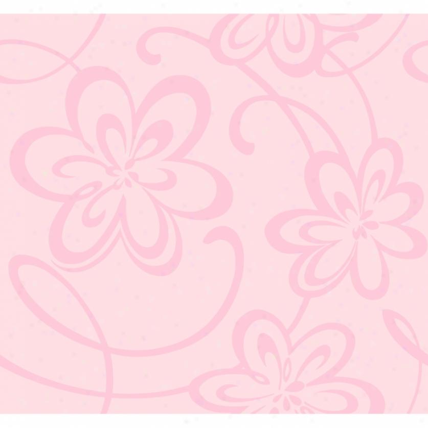 Glitter Floral Pink Wallpaper
