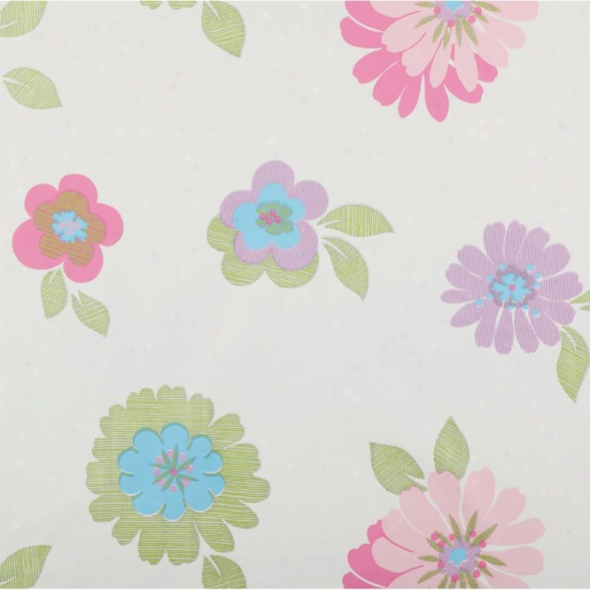Glitter Flowers White Scallop, & Green Wallpaper