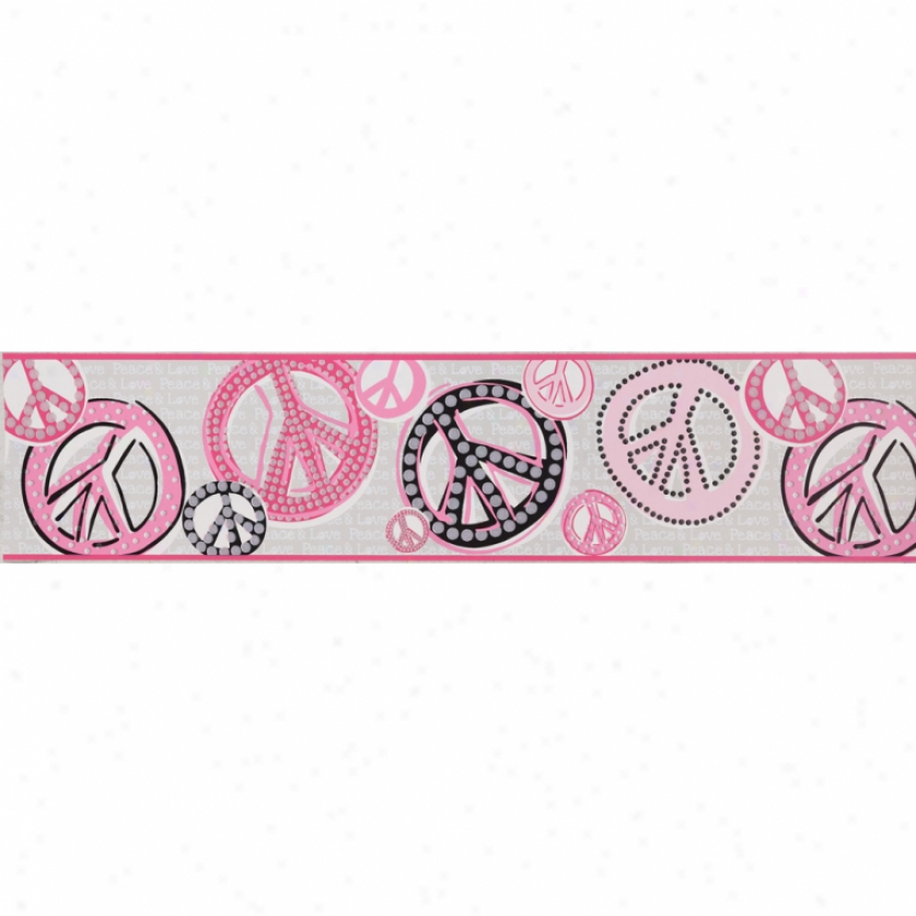 Glitter Peace Signs Gray & Pink Wallpaper Border