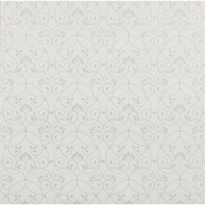 Glitter Scroll White Wallpaper