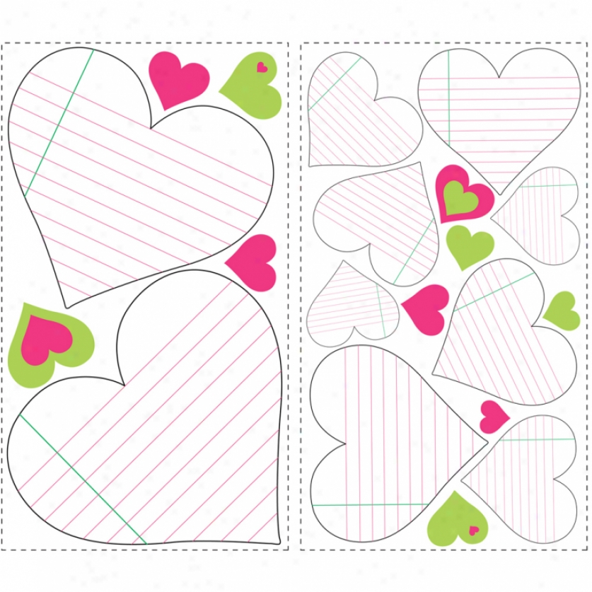 Heart Notepad Dry Efface Wall Decals