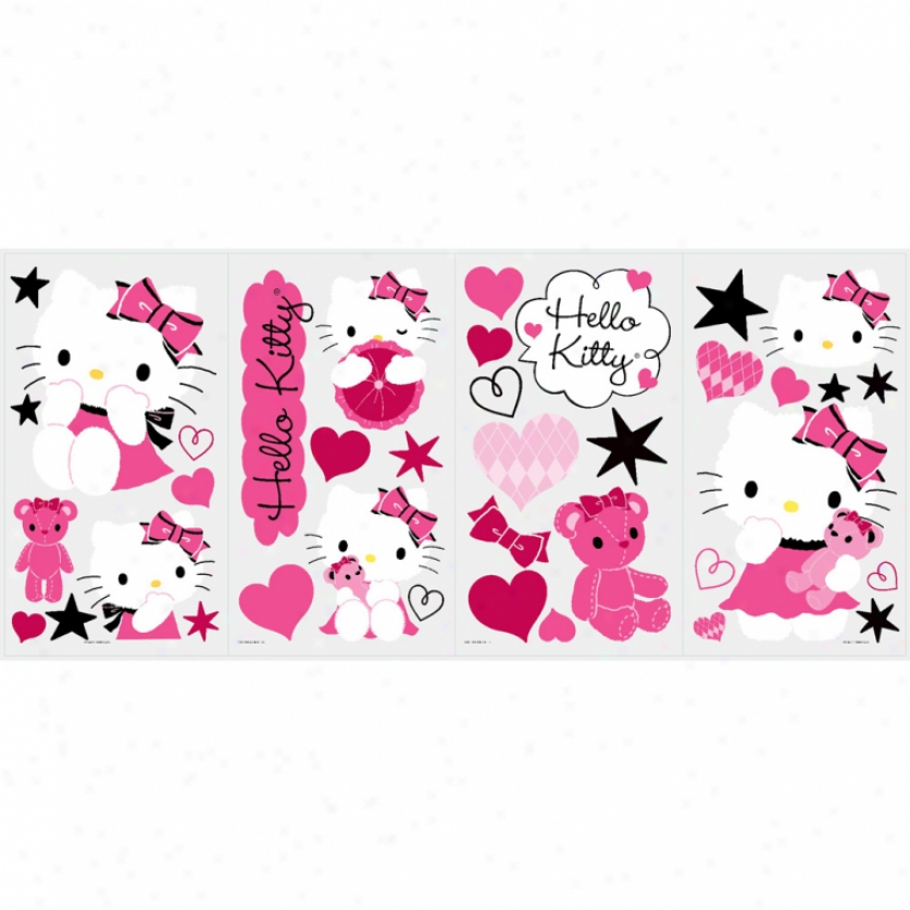 ... - Hello Kitty Couture Wall Stickers 38 Fun Decals Hearts Stars Kitty
