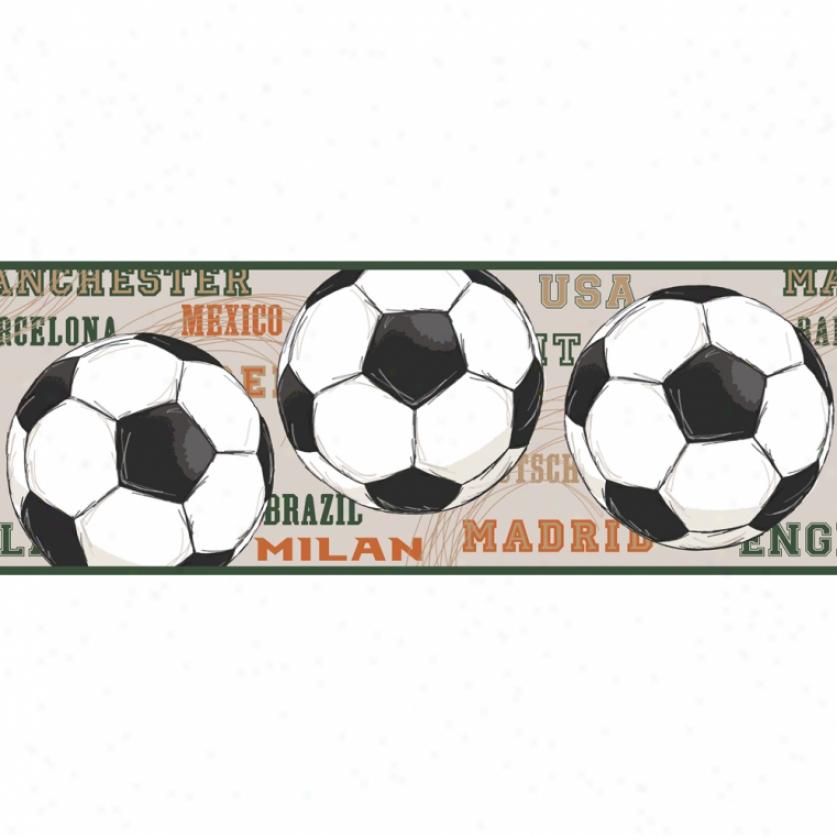 High Score Soccer Beige Wallpaper Border
