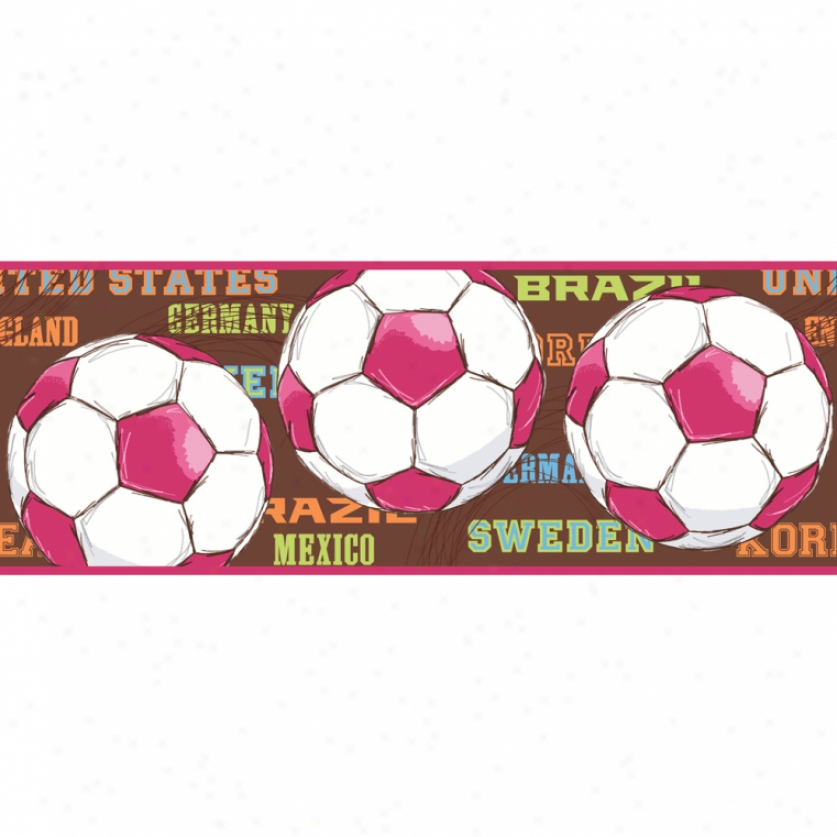 High Score Soccer Brown & Hot Pink Wallpaper Border