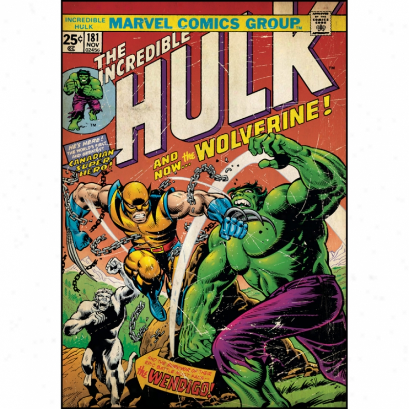 Incredible Hulk & W0lverine Comic Cover Giant Wall Decal