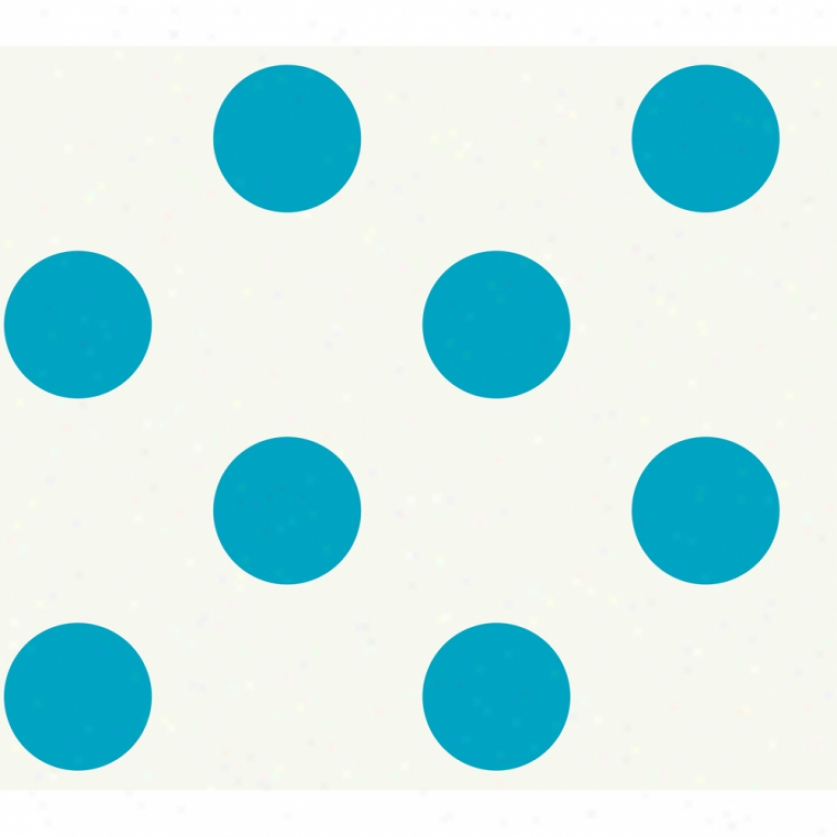 Jumbo Dots White & Blue Wallpaper