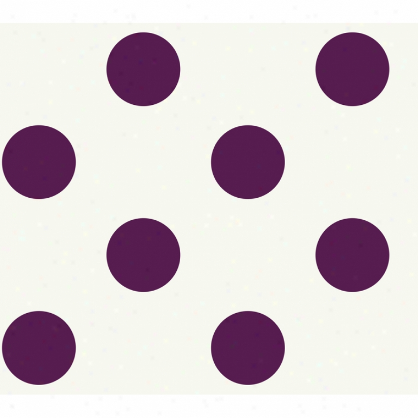 Jumbo Dots White & Purple Wallpaper