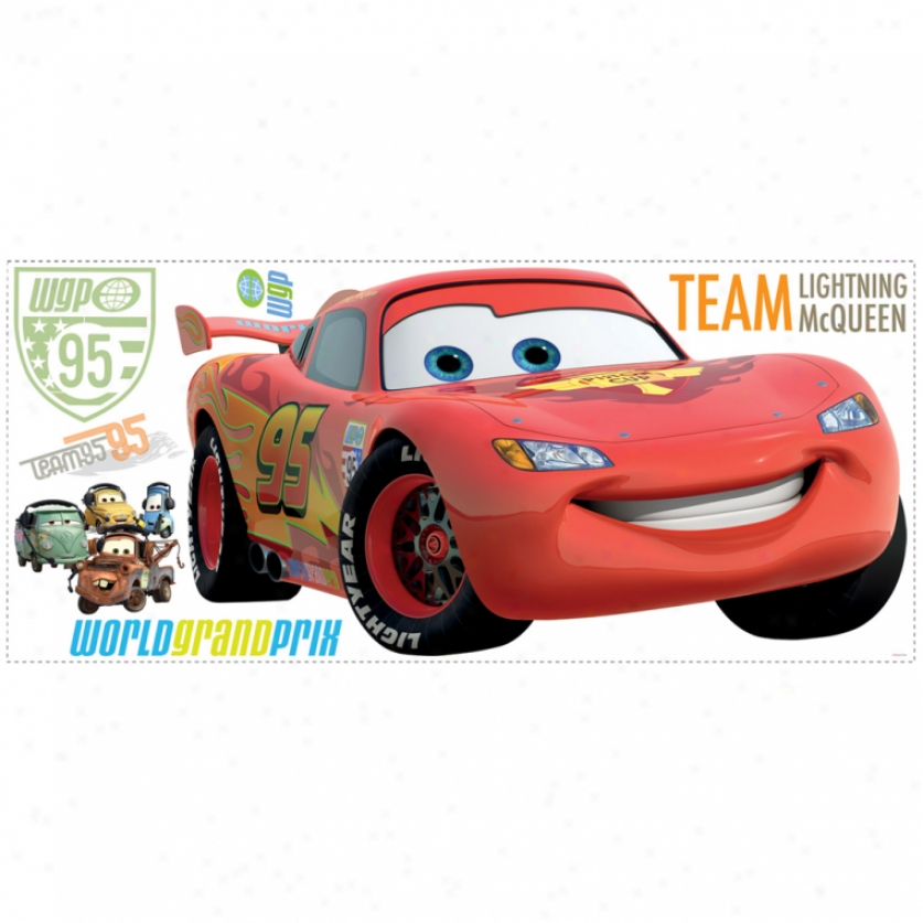 Lightning Mcqueen Giant Wall Decal With Alphabet