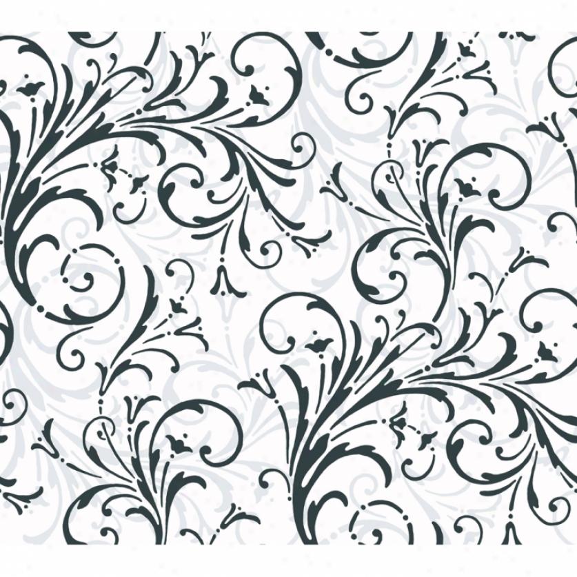 Lively Scrolls Black & White Wallpaper