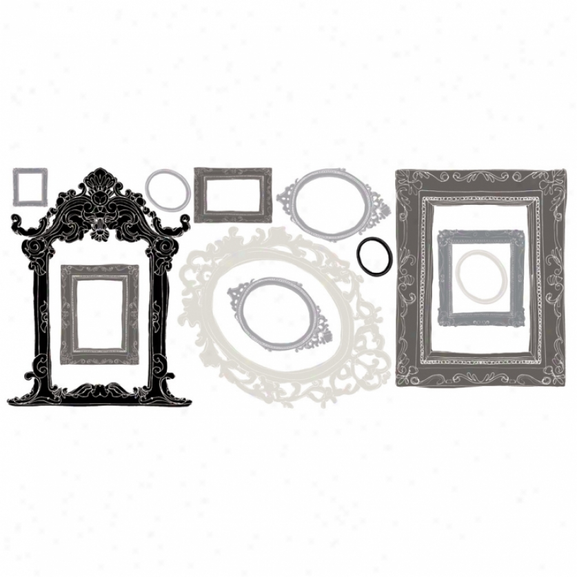 Metallic Black & Silver Frames Wall Decals