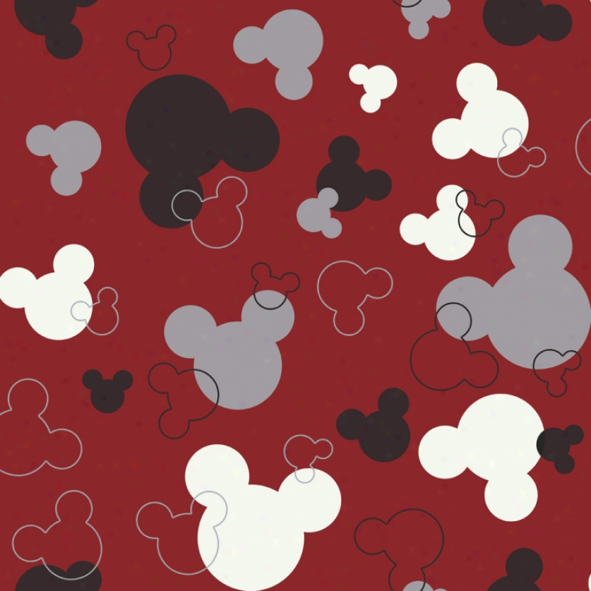 Mickey Mouse Heads Red & Black Wallpaper