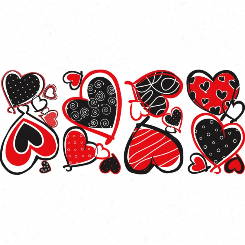 Mod Hearts Wall Decals