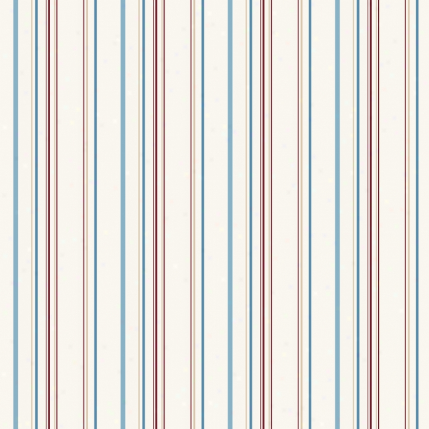 Multi Wale Light Blue, Red, & White Wallpaper