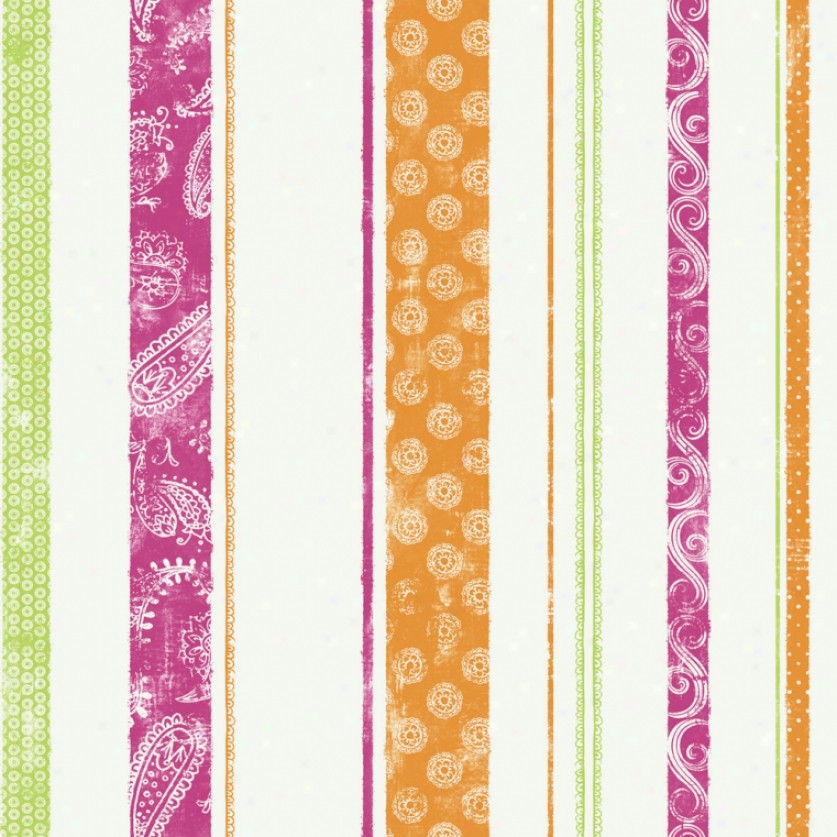 Paisley Stripe Pink, Green, & Orange Wallpaper