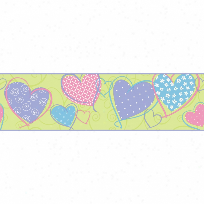 Patterned Hearts Green & Pastels Wallpaper Border
