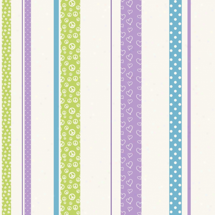 Patterned Strippe Green, Purple, & Blue Wallpaper