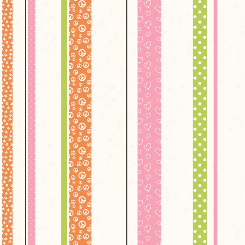 Patterned Stripe Orange, Pink, & Green Wallpaper