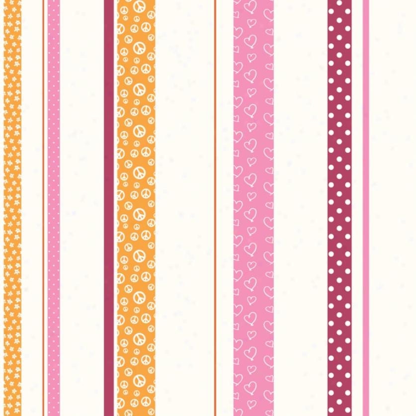 Patterned Stripe Orange, Pink, & Raspberry Wallpaper