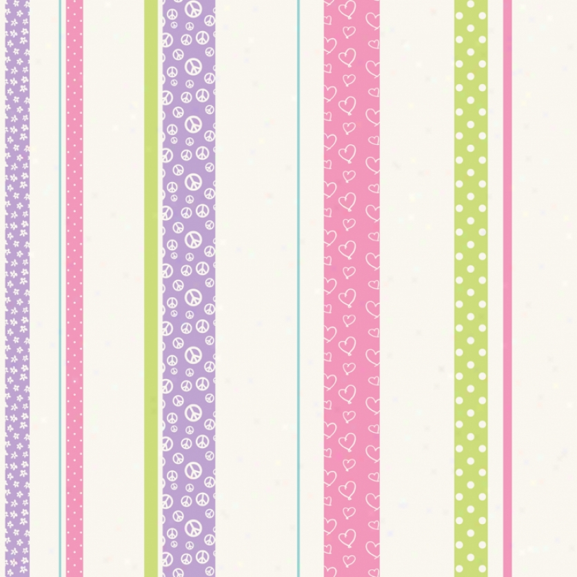 Patterned Stripe Purple, Green, & Pink Wallpaper