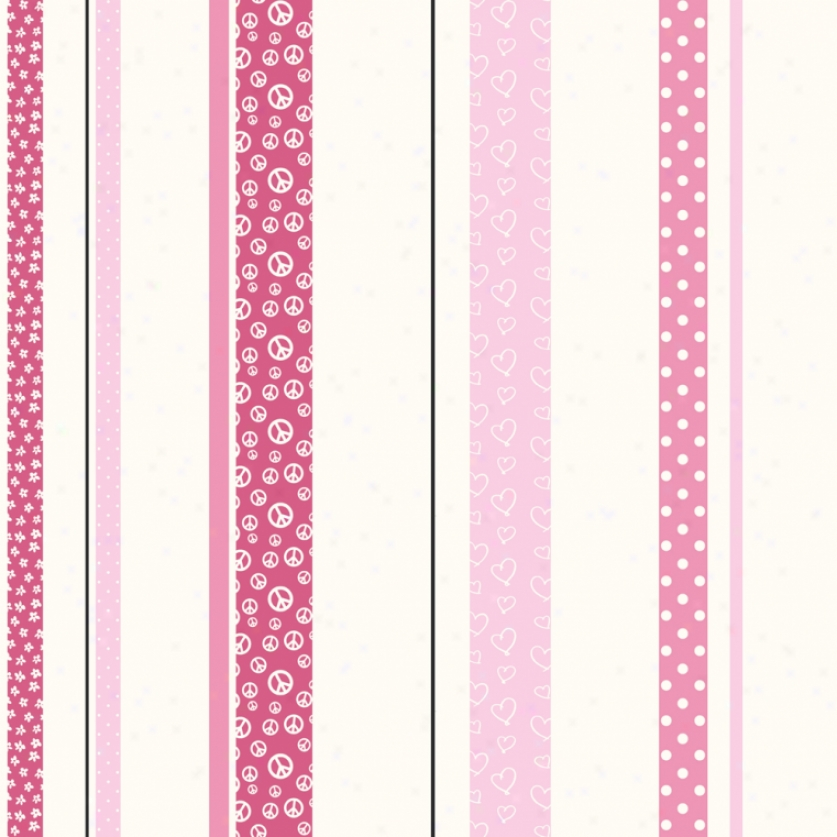 Patterned Stripe White, Pink, & Black Wallpaper