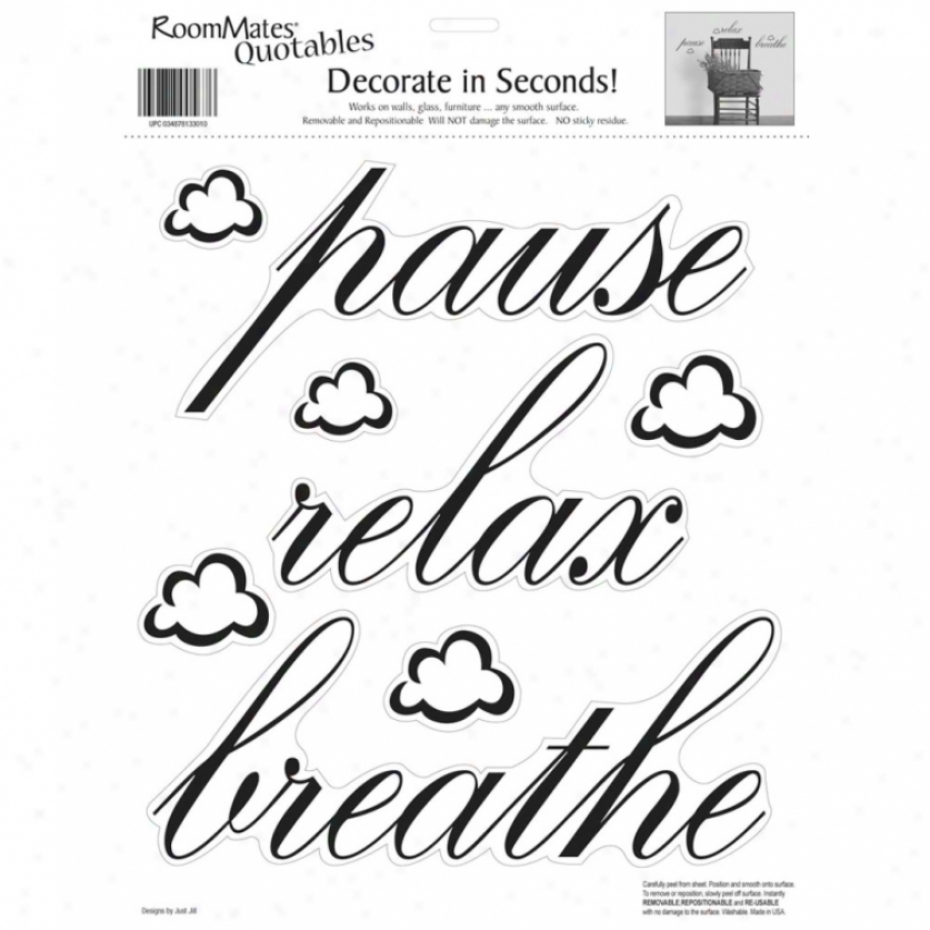 Pause, Relax, Breathe Wall Decals