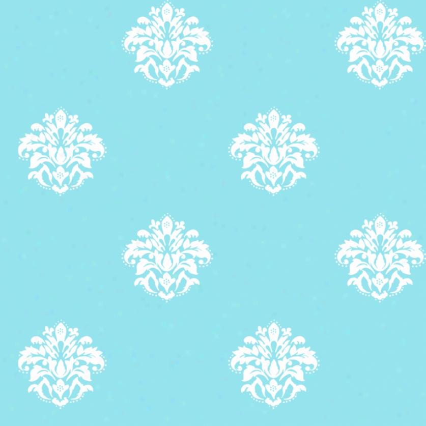 Petite Damask Blue & White Wallpaper