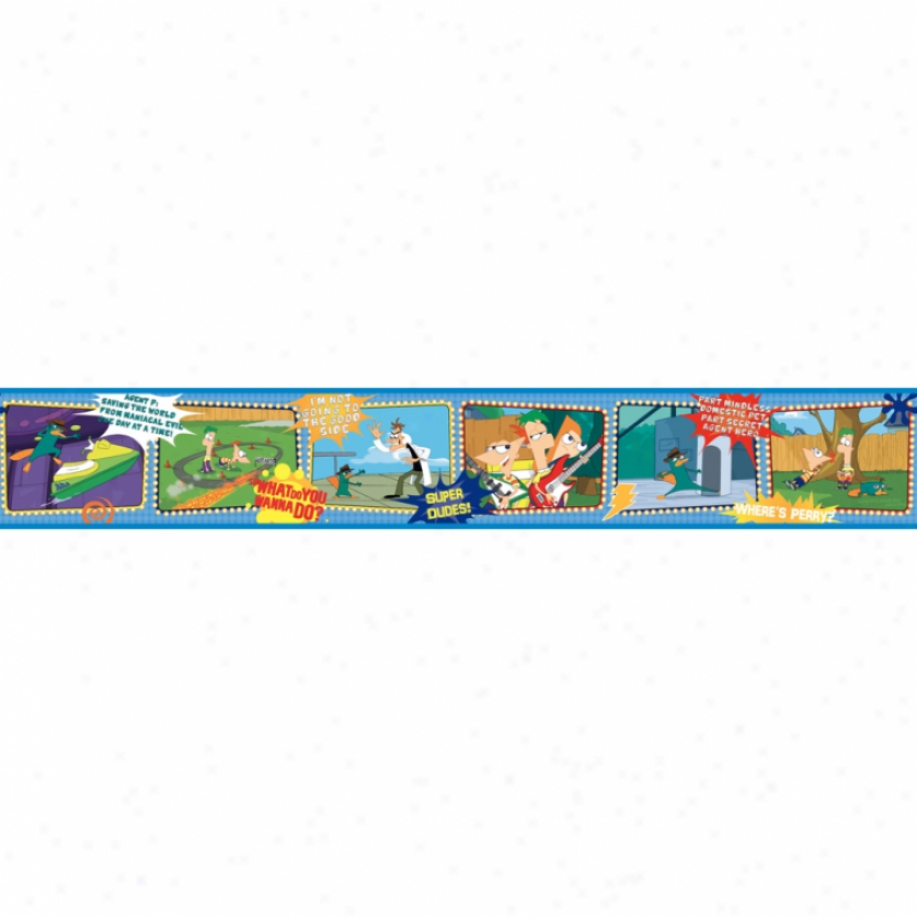 Phineas And Ferb Scenic Prepazted Wallpaper Border