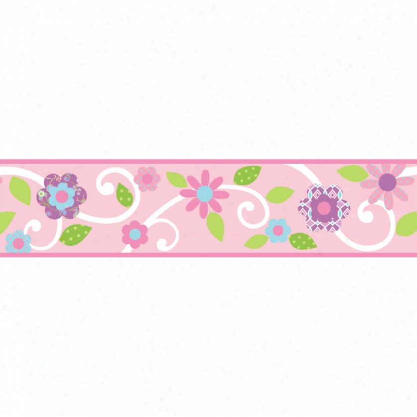 Pink Floral Scrolli Peel & Stick Border