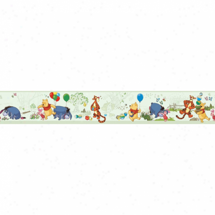 Pooh & Friends Toile Green Prepasted Wallpaper Border