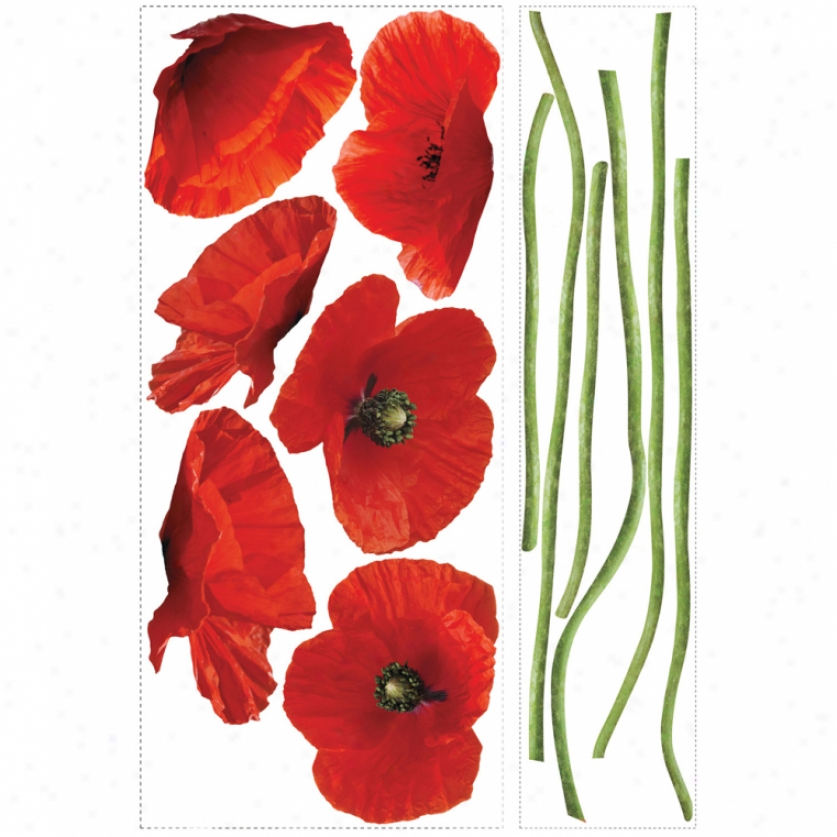 Poppies At Play Giant Wall Decals