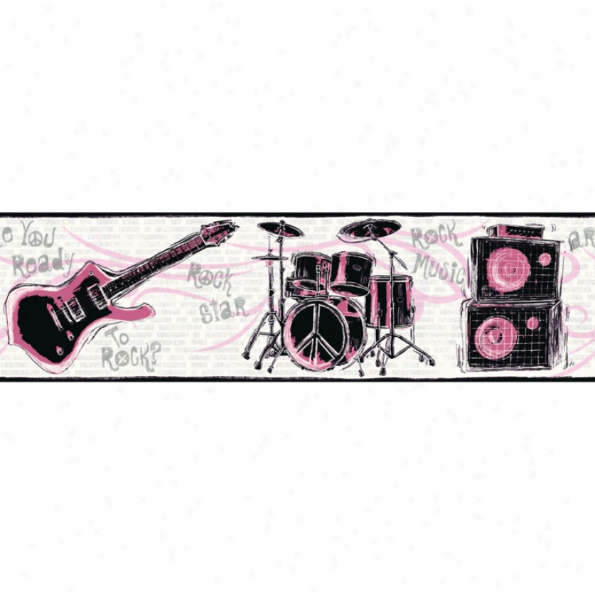 Ready To Rock Pink & Black Wallpaper Border