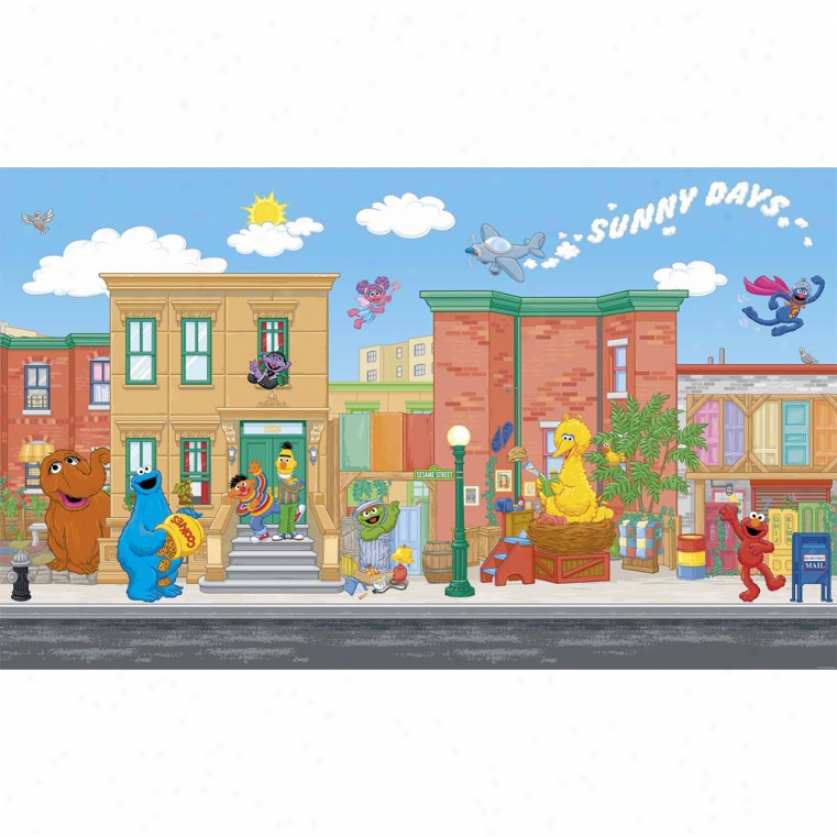 Sesame Street Xl Wallpaper Mural 10.5' X 6'