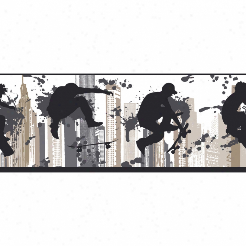 Skater Silhouettes White & Black Wallpaper Border