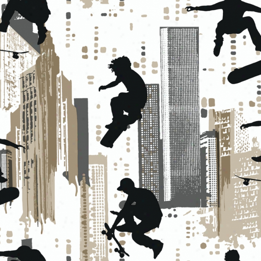 Skater Silhouettes White Wallpaper