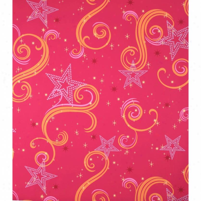 Star Sparkle Magenta, Orange, & Pink Wallpaper