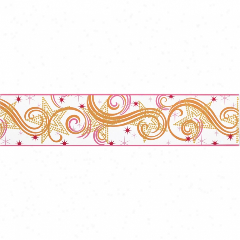 Star Glitter White, Pink, & Orange Prepasted Wallpaper Border