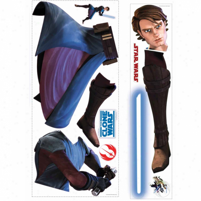 tSar Wars(tm):-The Clond Wars Anakin Glow In The Dark Giant Wall Decl