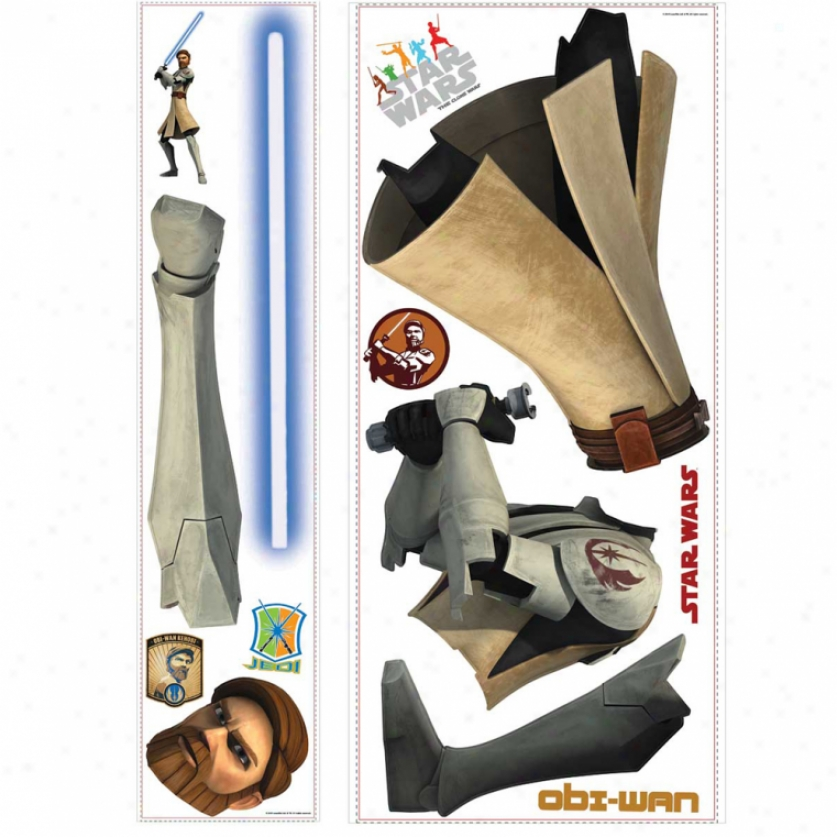 Star Wars(tm): The Clone Wars Obi-wan Glow In The Dark Giant Wall Decal